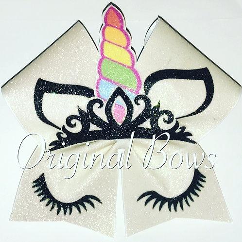 White Glitter 3D Unicorn cheer bow