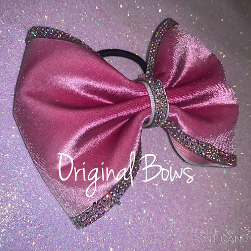 Pink Velvet Rhinestome tailless Cheer Bow