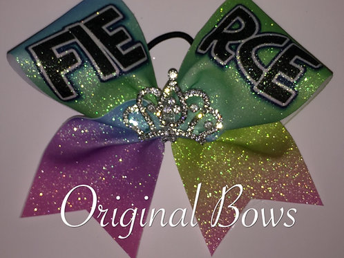 FIERCE Rainbow Crown Glitter Cheer Dance Bow