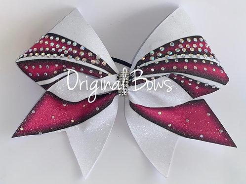 Hot Pink Black & White Rhinestone Glitter Bow