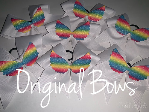 Rainbow Winged Pigtail Mini Bow