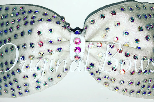 Tailless white Glitter AB gem stone Bow