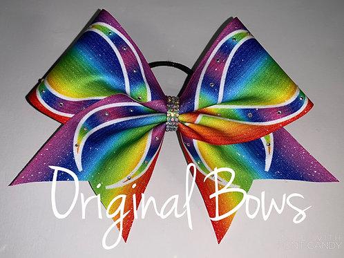 Rainbow Infinity glitter Cheer Bow
