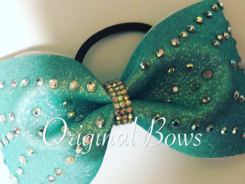 Teal sparkle Rhinestone Tailless Cheer Bow