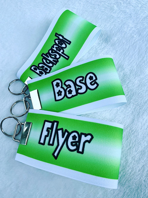 Flyer Base Backspot Green Ribbon Keychain cheer stunt group set