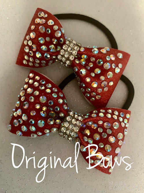 Red Glitter Tailless Rhinestone Pigtail Mini Bow