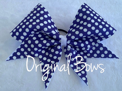 Purple and White Polka Dots Fabric Cheer Bow