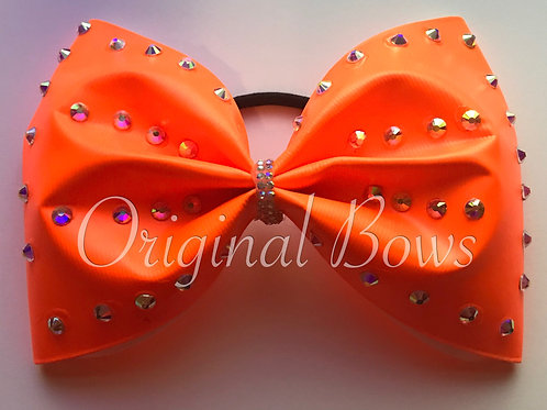 "Florescent Orange 4"" crystal Bow"