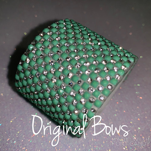 Teal Rhinestone Hair Pony Glam Cuff