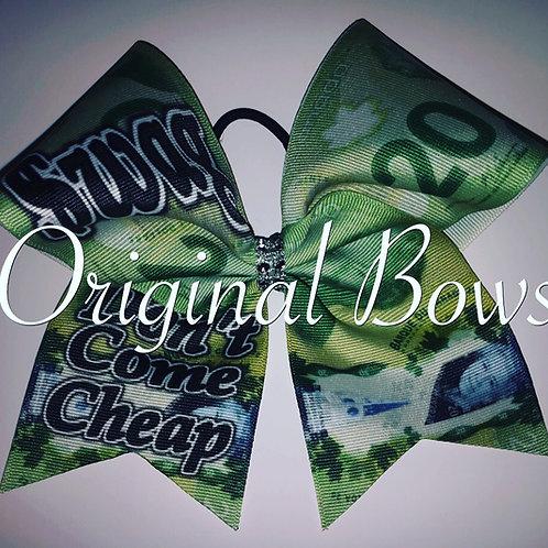 Swag Don't Come Cheap $20 bill Grosgrain Cheer Dance Bow