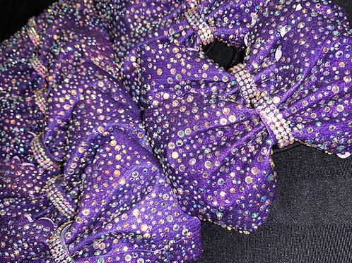"""Purple Tailless 4"""" rhinestone Glitter Cheer Bow"""