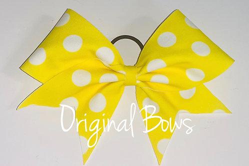 Neon Yellow polka dots fabric Cheer Bow