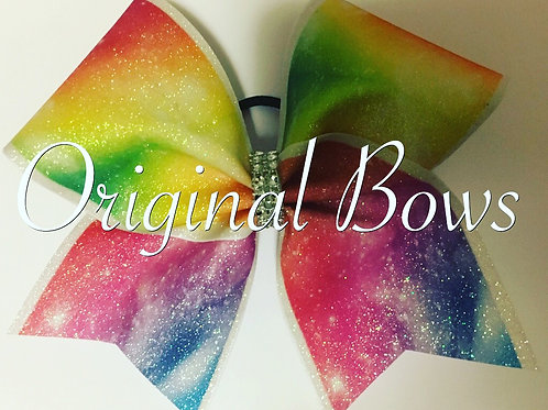 Rainbow Galaxy Glitter Cheer Bow