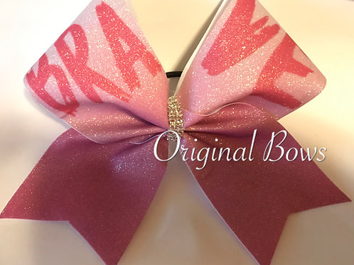 Pink Sparkle BRAVE Glitter Cheer Bow