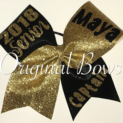 Custom Senior Gold Black Glitter Cheer Bow