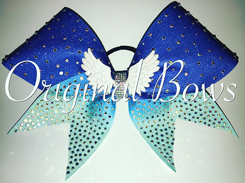 Limited Edition Clustered Rhinestone Blue Ombré Wings Cheer Bow