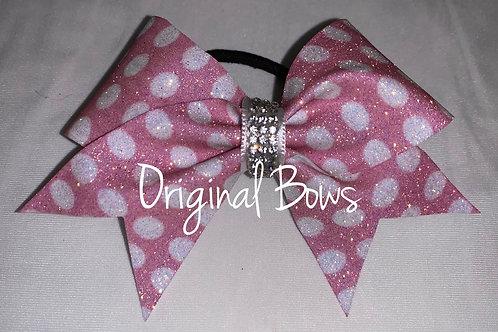Pink polka dots Glitter Pigtail Mini Bow
