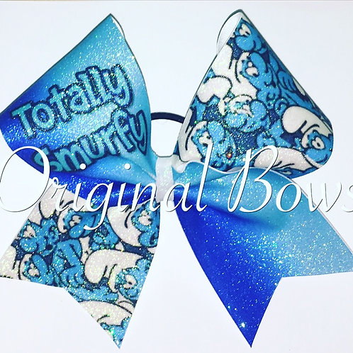 Totally Smurfy blue ombré Smurf Cheer Bow