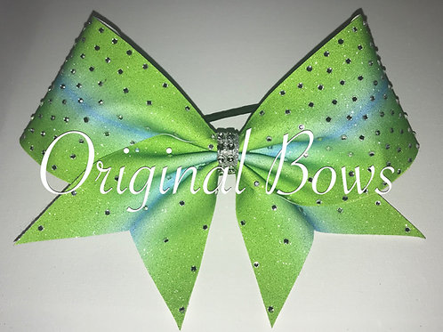 Lime Green and teal Ombre Glitter Rhinestone Bow