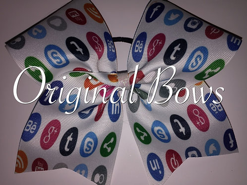 Social Media Grosgrain Cheer Bow