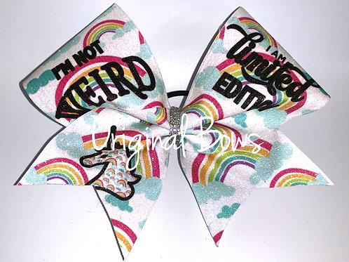Unicorn Rainbows Not Weird Glitter Cheer Bow