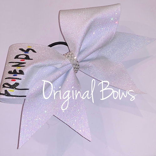 Friends BFF white Glitter Cheer Bow