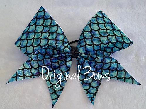 Blue Aqua Mermaid Glitter Cheer Bow