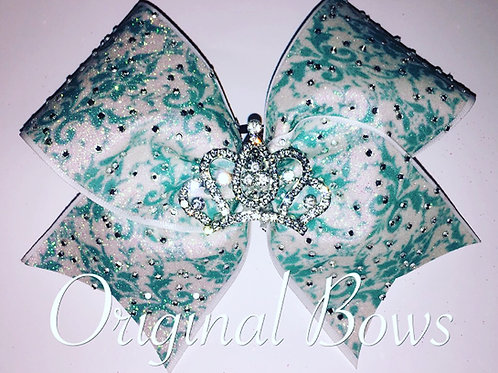 Tiffany Teal damask glitter crown cheer bow