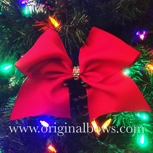 Red Cheer Bow Pinecone Cheer Christmas Tree Ornaments
