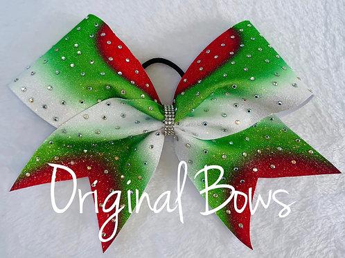 Red Green white Glitter Ombré rhinestone Colour Burst Bow