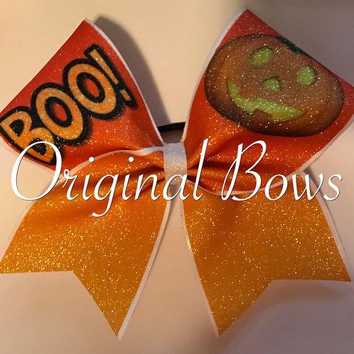 Halloween BOO Pumpkin Glitter Cheer Bow
