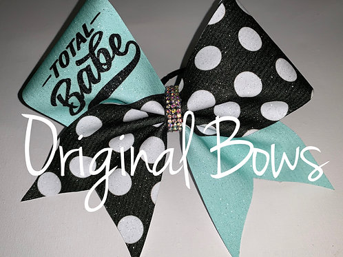 Total BABE Blue and polka dots glitter Cheer Bow