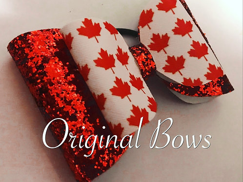 CANADA Maple Leaf Red and White Shimmer Glitter Double Bow
