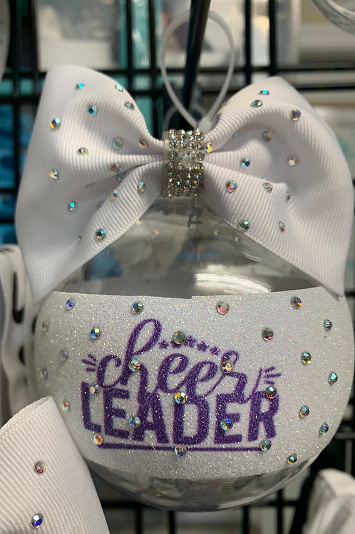 Cheerleader Purple Clear Rhinestone BALL Cheer Bow Christmas Ornament