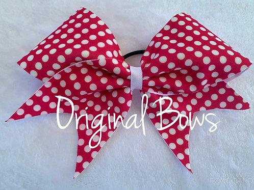 Pink and White Polka Dots Fabric Cheer Bow