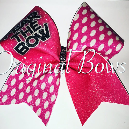 Hot Pink Fear the Bow dotty glitter bow