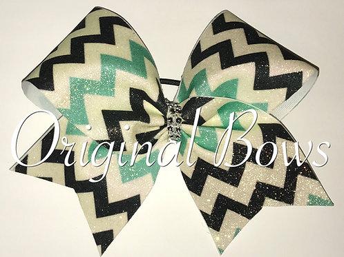 Black Teal White Chevron Glitter Cheer Bow
