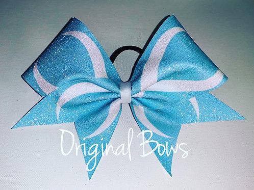 Blue Infinity Glitter Cheer Bow