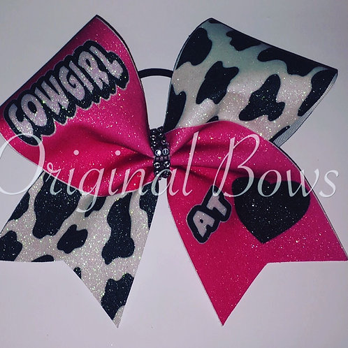 Cowgirl at Heart Hot Pink Cow Western Cheer Bow