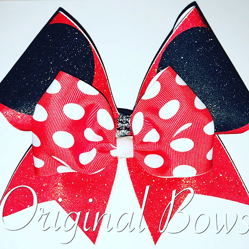 Mini Mouse Red Glitter Cheer Bow