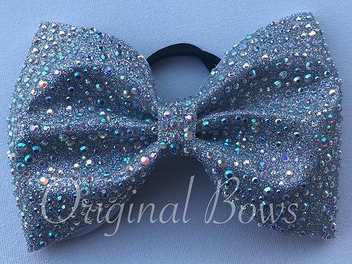 """Iridescent Silver Gem Glitter 4"""" Tailless Bow"""