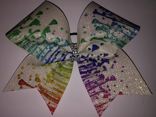 Splatter Paint Rainbow Glitter Bow