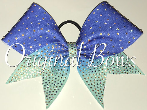 Blue Ombre rhinestone clustered cheer bow