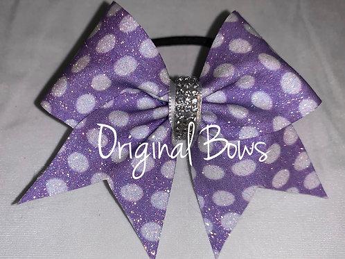 Purple polka dots Glitter Pigtail Mini Bow