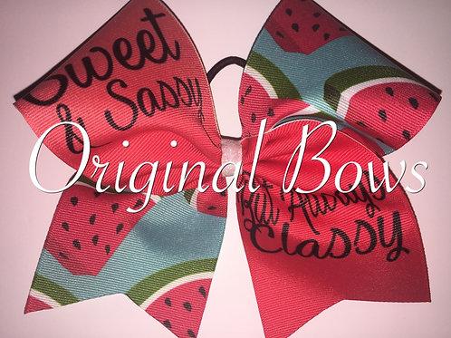 Sweet & Sassy Always Classy Watermelon Cheer Bow