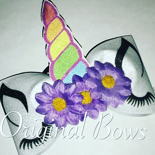 Unicorn Tailless Glitter Cheer Bow