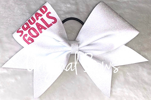 SQuaD GOALS White Pink Glitter Cheer Bow