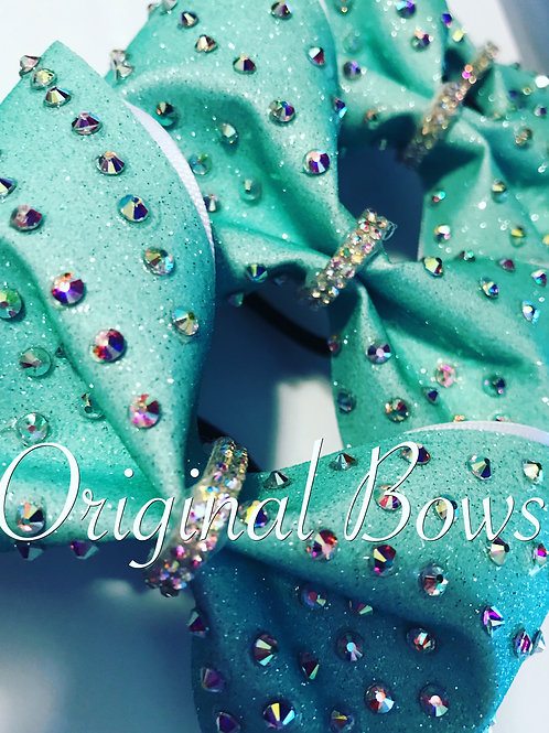 Teal Sparkle Gemstone Tailless Bow