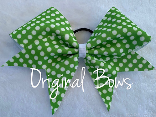 Green and White Polka Dots Fabric Cheer Bow