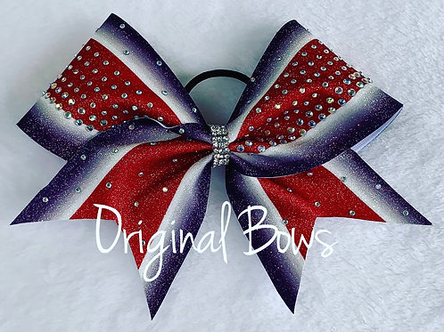 Red white and Purple Rhinestone Striped Bow